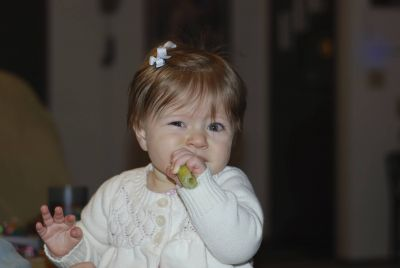 Eating her greens